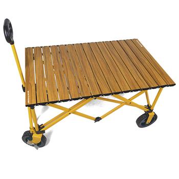 Outdoor Camping przenośne składane zawijane płyta stołu do wózka Wagon Wood Grain stół piknikowy ze stopu aluminium Top Glamping Gear tanie i dobre opinie CN (pochodzenie)