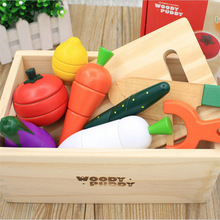 Toys Vegetables-Toys Play-House-Toy Game Simulation Montessori-Cut Fruits Gift Wooden