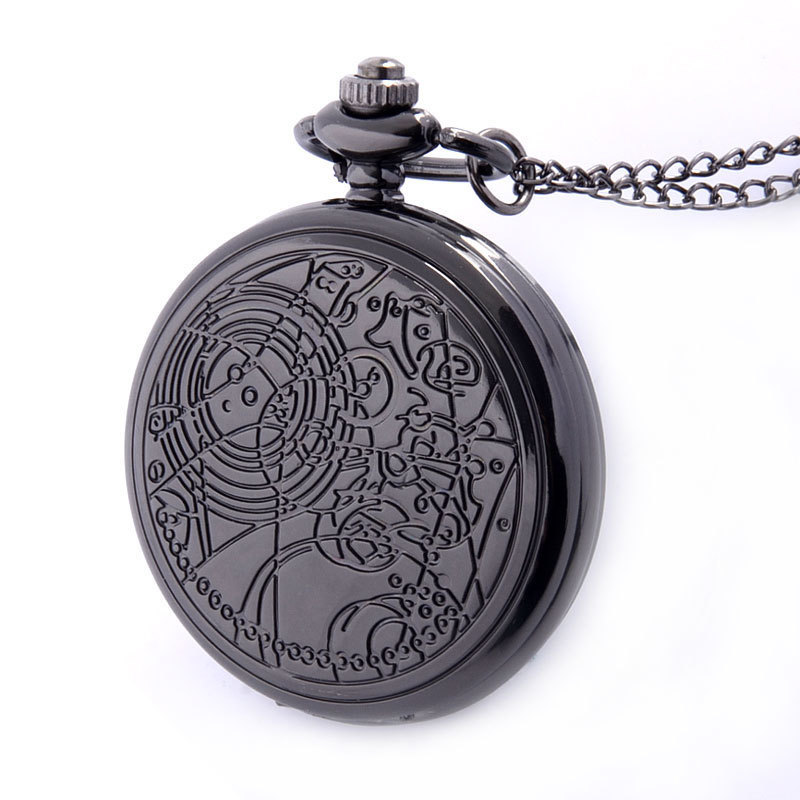 IBEINA Black Bronze Silver Color Available Full Hunter Quartz Engraved Fob Retro Pendant Pocket Watch Chain Gift
