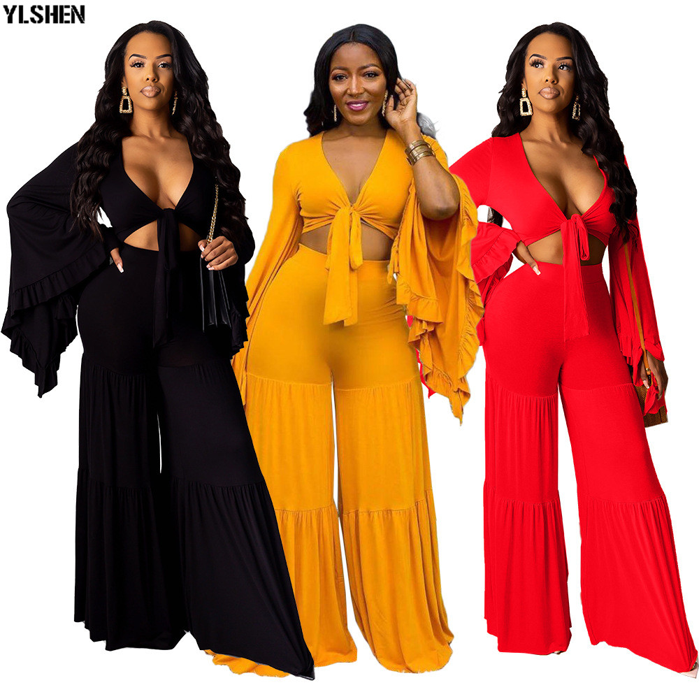 2 Two Piece Set African Dresses For Women Dashiki Sexy Crop Top + Loose Pants African Clothes 2019 Basin Riche Africa Clothing