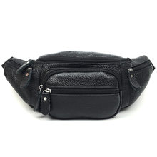 Leather male fanny pack outdoor waterproof sports cowhide men's belt bag Men and women riding Yoga Mobile Wallet fashion purse(China)