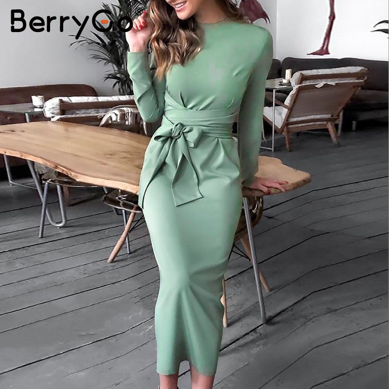 BerryGo Elegant Lace Up Bow Tie Midi Women Dress High Waist Office Ladies Vestidos Autumn Winter Bodycon Female Party Dresses