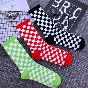 Adult Mid Calf Crew Fashion Block Socks Checkered Black White Gum Grid Chequered Flag Checkerboard Lattice Chessboard Man Woman