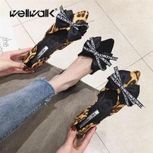 Wellwalk Flats Women Ballerina Shoes Fashion Leopard Ballet Ladies Slip On Female Black