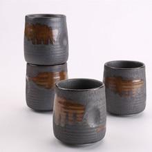 240ml Imitation Stoneware Rib Round Mouth Mug Creative Ceramic Tea Mug Coffee Cup