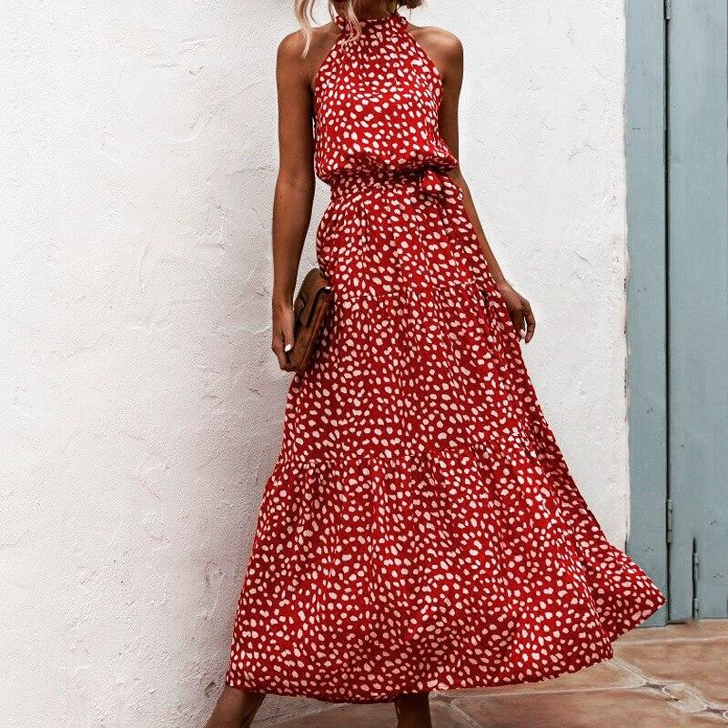 Летнее элегантное пляжное женское платье 2020, длинное платье в горошек с цветочным принтом, женское платье с лямкой на шее в стиле бохо, винтажные вечерние платья для женщин Платья      АлиЭкспресс