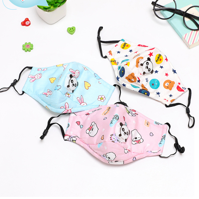 Cute PM2.5 Washable Mouth Mask With Valve Kids Children Anti Haze Dust Mask Nose Filter Face Muffle Bacteria Flu Masks 5