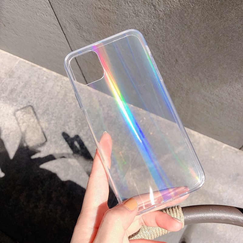 Caso do laser do arco-íris para o iphone x xr xs max 11 11 pro max 6s 7 8 plus xs luxo colorido gradiente acrílico transparente caso de telefone