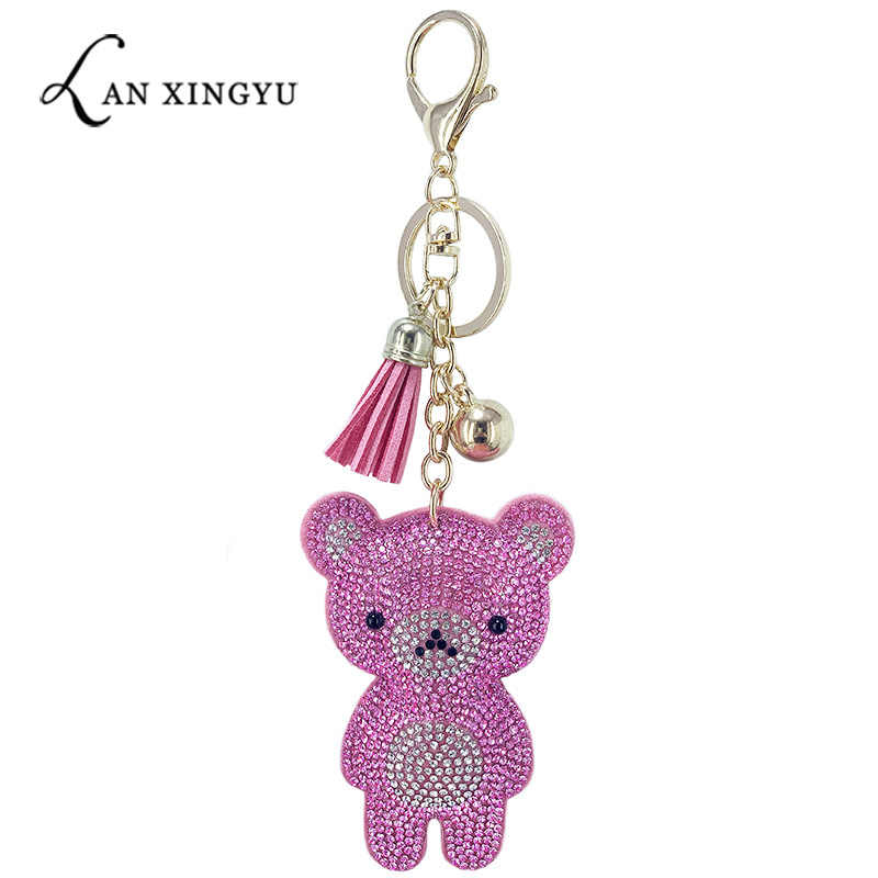 Sparkling mini bear inlaid rhinestone keychain ladies bag cute bear pendant car key alloy pendant children's New Year gift