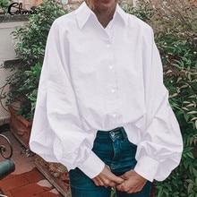 Celmia Top Fashion Women Laple Long Puff Sleeve Casual White Blouse Elegant Office Lady