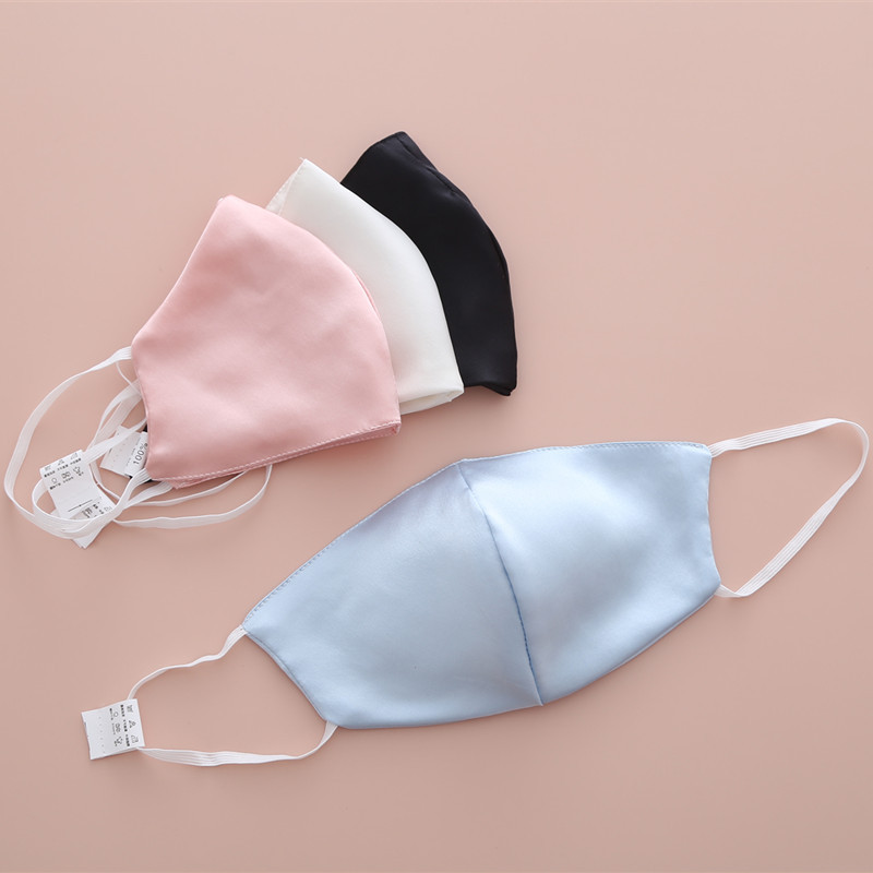 Silk Mask Su Chou Duan 100% Double-Sided Silk Fabric Anti-Warm Sunscreen UV Windproof Dust Mouth Mask