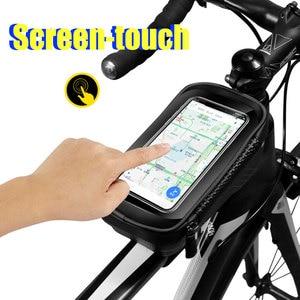 Image 2 - Sacoche imperméable pour vélo frontale de 6.2 pouces, sacoche de guidon pour téléphone portable, Tube supérieur, accessoires de cyclisme en montagne