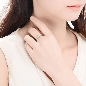 Sterling Silver Moissanite Zircon Engagement Ring  4