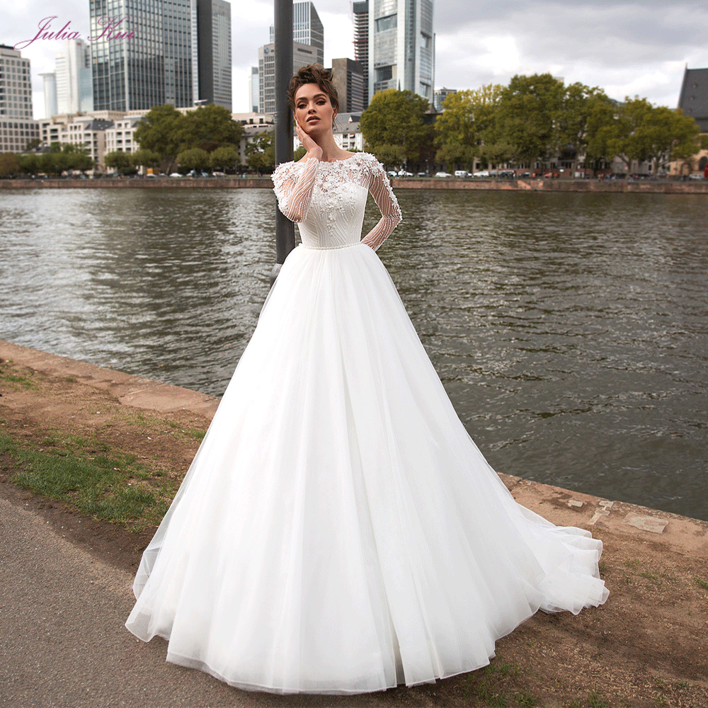 Julia Kui Vestidos De Novia Vintage Princess Ball Gown Wedding Dress 2020 Quality Beaded Pearls Crystals Long Sleeve Bride Dress