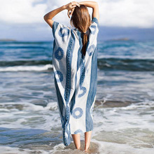 Maxi Beach Dress Bathing suit Cover ups Sarong Beachwear Women Summer Bohemian Kaftan Pareo