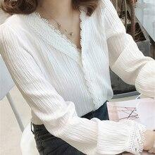 Spring Autumn Chiffon Blouse Elegant Female Fashion Shirts Blocks V-Neck Pullover Tops Office Ladies Long Sleeve White Shirts