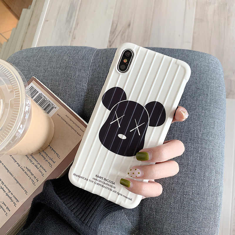 For IPhone6s 7 8 Plus Curved Surface Bear Mobile Phone Protective Case Cute XX Eyes Bear for IPhone Xs XR Max Mobile Phone Shell