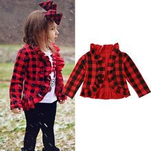Pudcoco baby mädchen kinder jacke rot plaid Kleidung mädchen Mäntel floral muster Oberbekleidung trainingsanzug Casual Jacken Infant(China)