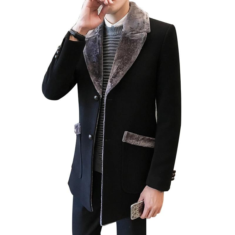 Fur Collar Trench Coat Men Wool Blend Winter Coat Slim Fit Men Manteau Homme Mid-Long Black Grey Mens Trench Coat Blue 4xl 5xl