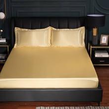 Натяжная простыня из вискозы, однотонный мод, мягкое покрывало для кровати размера King/Queen 1,5/1,8 м, домашнее шелковое постельное белье, черное ...