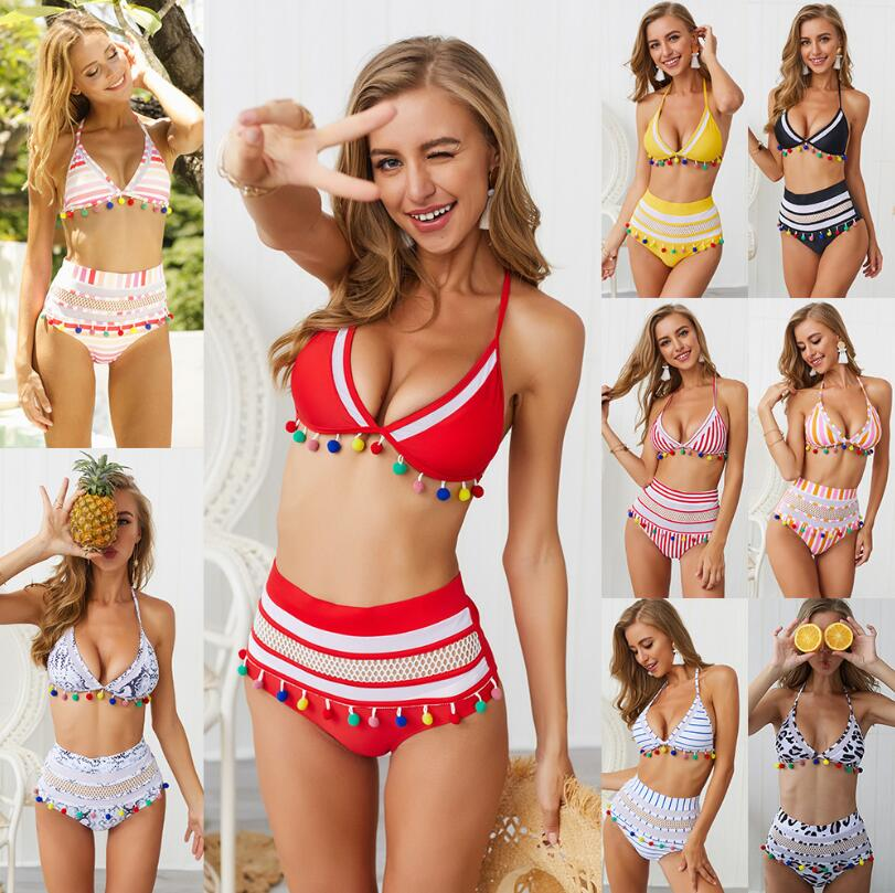H00e1e5f739fc434594b26d26adc84ff1H Bikini Rainbow Mesh Fringe Swimwear Women