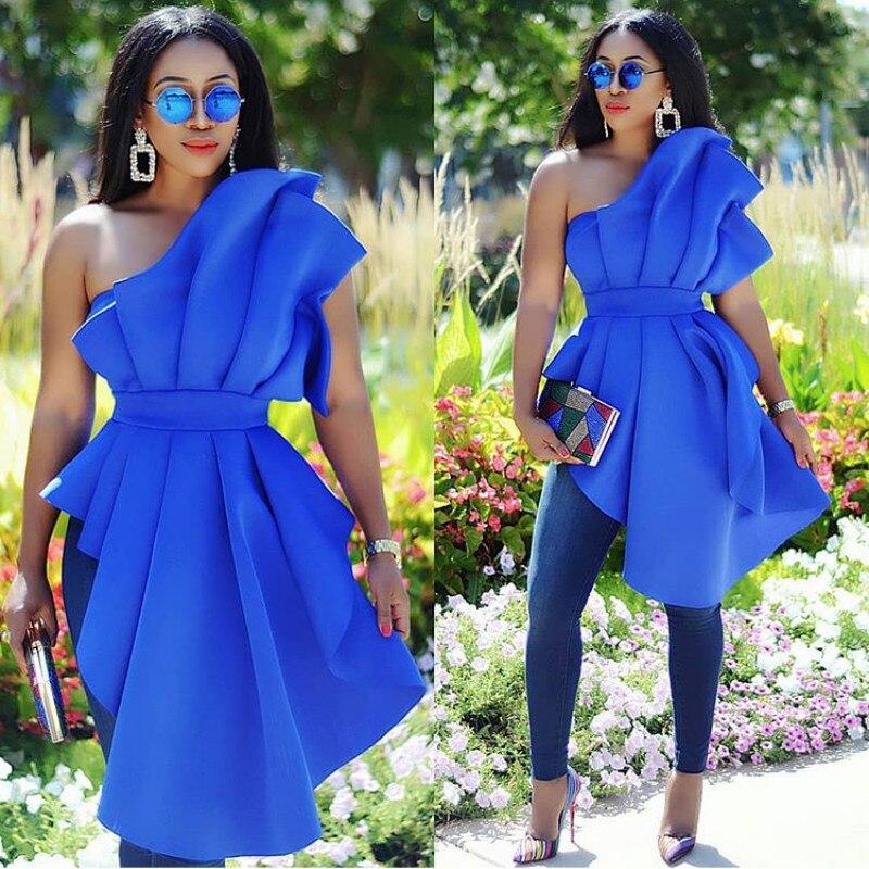 Sexy femmes robe de soirée robe de Cocktail bleu robes de grande taille robe de dame avec des volants extensibles sans bretelles robe de retour