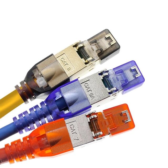 100 Uds Cat6A Cat7 Cat8 RJ45 conectores de engaste Ethernet apantallado LAN Cable de red de Cable de Internet RJ 45 Terminal Modular Plug