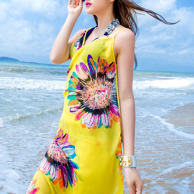 2019 Bohemian Women Summer Beach Dress Bikini Cover-ups Swim Wear Cover Up Cotton Tunic Sexy Deep V-Neck Robe Caftan 4
