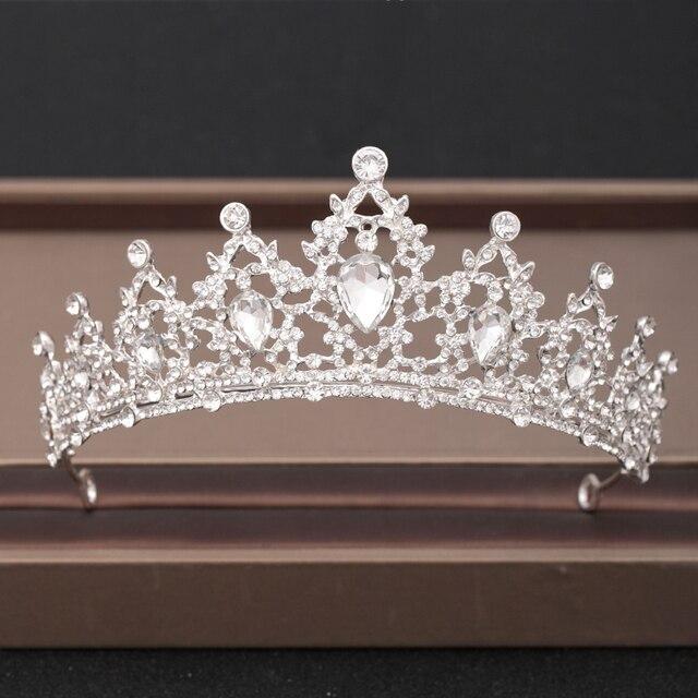 Wedding Crown Hair Jewelry Accessories Wedding Crown Hair Jewelry Bridal Headpiece woman Baroque Rhinestones Crystal Tiaras Bride Party Crowns Wedding Hair
