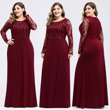 Новое Осеннее вечернее платье размера плюс с глубоким вырезом и длинными рукавами, кружевные Элегантные вечерние платья русалки