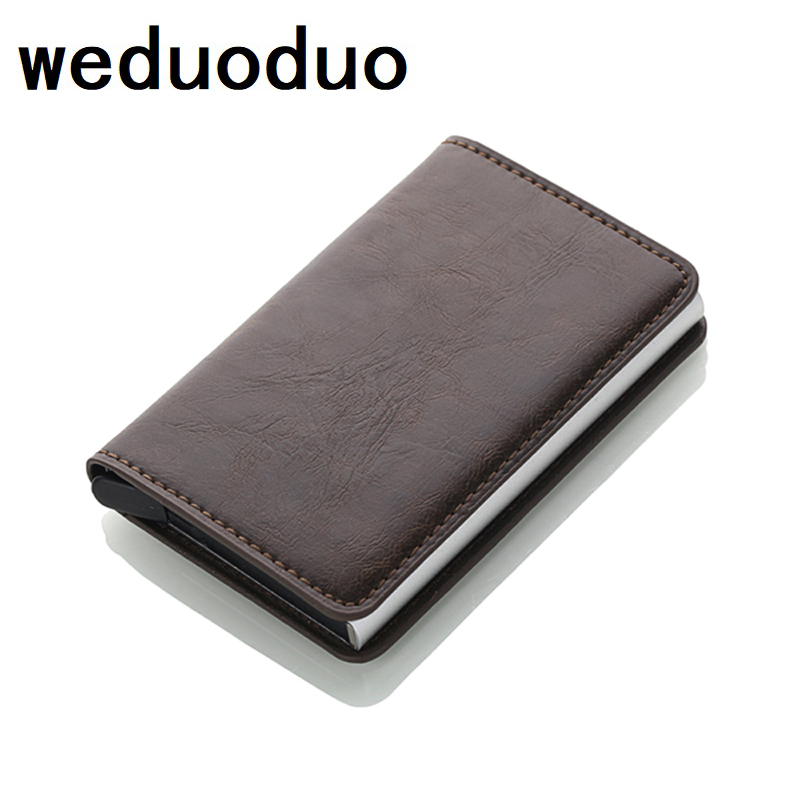 New Slim Mini Wallet Aluminum Box Credit Card Holder Security RFID Holder Pop-Up Clutch Card Case for Men and Women