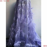 nice looking feather embroidery tulle mesh lace fabric mo9 with good quality for party dress