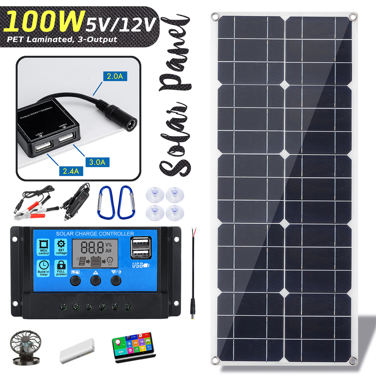Hot Sales 100W 18V Monocrystaline Solar Panel Dual 12V 5V DC USB Charger Kit with 10A Solar Controller  amp  Cables for Outdoor