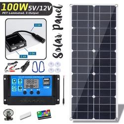 Hot Sales 100W 18V Monokristallijne Zonnepaneel Dual 12V/5V Dc Usb Charger Kit Met 10A Solar Controller & Kabels Voor Outdoor