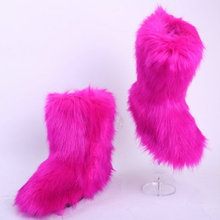 winter boots women Girl's Winter Black Bling faux Fox Tail Fur Knee Snow Boots Women large Plush fur Inside Thigh High Boots
