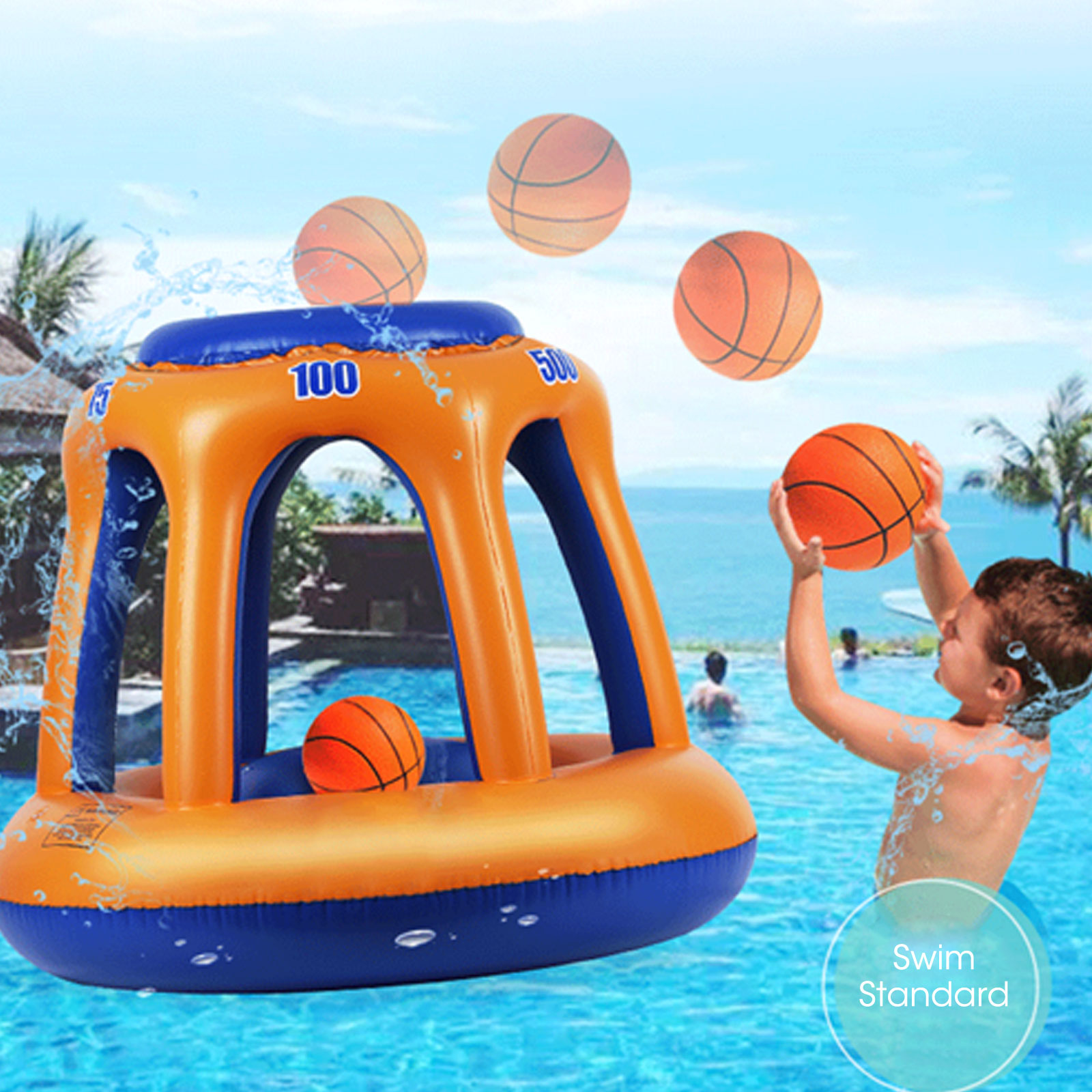 Swimming Pool Basketball Hoop Ball Set Inflatable Hoop Water Play Summer Toy For 6 Years Old Above PVC Float Pool Accessories