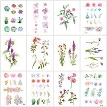 Wyuen 12 PCS/lot Flower Series Fake Tattoo Leaf Plant Waterproof Temporary Tatoo Stickers for Women Body Art Tattoos JY-021