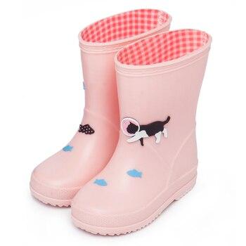 Kids Rain Boots Waterproof Garden Shoes Cute Cat Cartoon Children Booties for Girls Boys