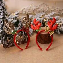 Рождественские повязки на голову, подарок, рождественские аксессуары для волос, повязки на голову, Необычные оленьи рога, повязка на голову, рождественские вечерние повязки на голову