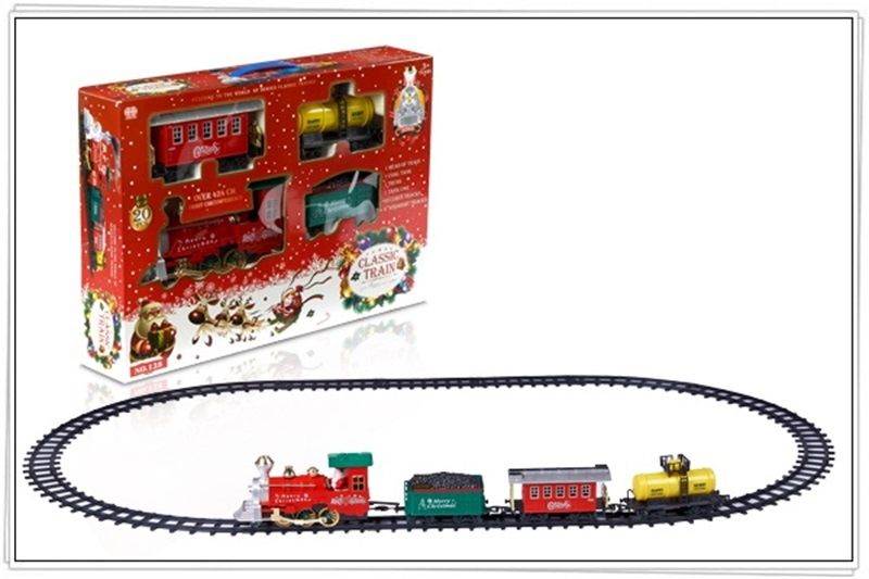 Small Train Camera Track Toy Set Smoke Christmas Camera Track Car Model Children Light Music Toy