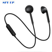 S6 esporte neckband fones de ouvido sem fio bluetooth para iphone xiaomi huawei com microfone chamada controle volume tws