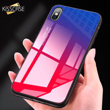 KISSCASE Tempered Glass Phone Case For Samsung A50 A70 A40 A30 Gradient Cases For Samsung S8 Plus S9 S10 S10E A7 2018 Back Cover(China)