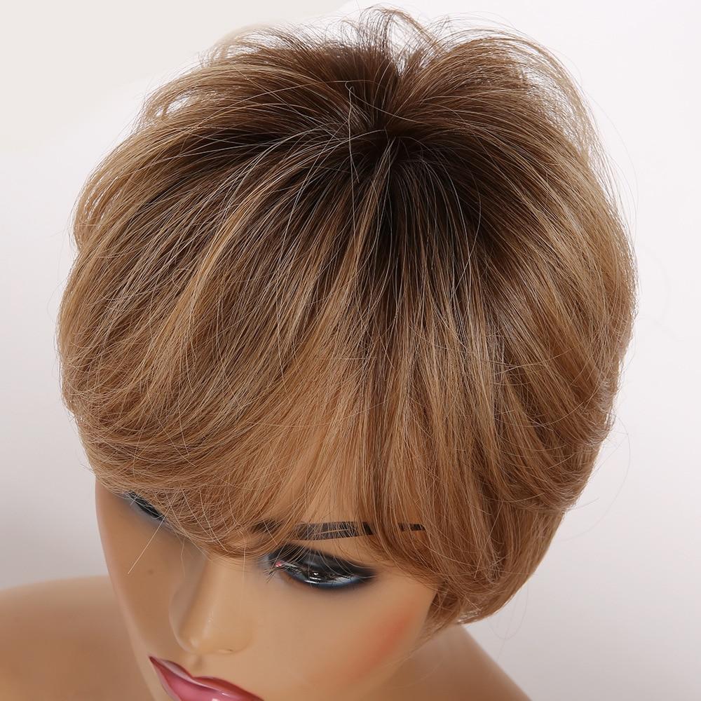 linha reta perucas curtas sintéticas com franja