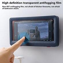 Forro tablet ou suporte do telefone à prova dwaterproof água caso caixa fixado na parede todo coberto prateleiras do telefone móvel auto-adesivo acessórios do chuveiro