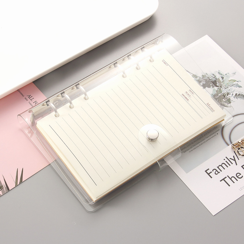 2PCS A5/A6 Laser Transparent Notebook Planner Organizer Paper Planner Inner Page Ring Binder Diary Bullet Journal Notebook