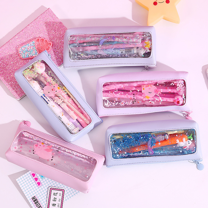 NEW Transparent Sequin Quicksand Pen Bags PU Water Proof Pencil Bag Large Capacity Pen Case Child Gifts