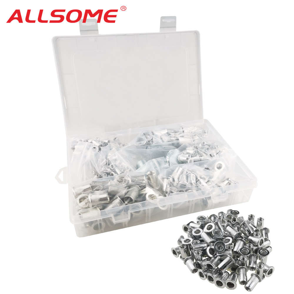 ALLSOME 300Pcs Aluminum Alloy Rivet Nut Flat Head Threaded Rivet Insert Nut Insert Reveting Nut M3 M4 M5 M6 M8 M10 M12 HT2773