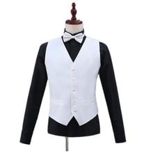 Модный мужской костюм жилет формальный деловой пиджак однотонный жилет тонкий без рукавов британский стиль мужской черный белый жилет