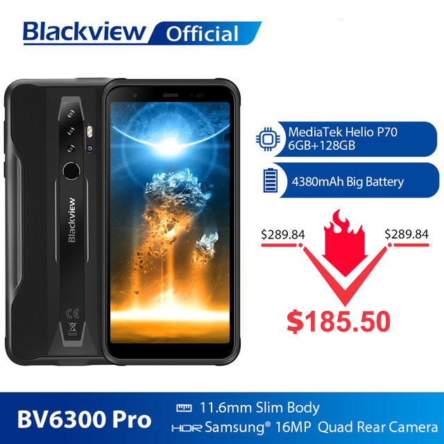 BLACKVIEW BV6300 Pro Helio P70 6GB+128GB Smartphone 4380mAh Android 10 Mobile Phone Quad Camere NFC IP68 Waterproof Rugged Phone 1