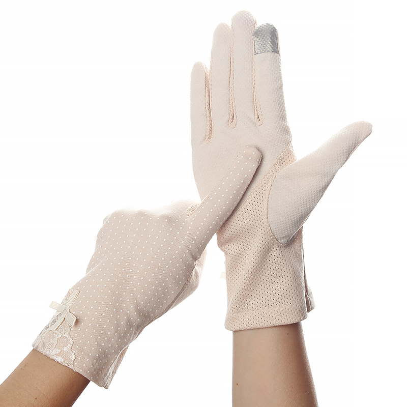 Women's Sun Protection Gloves High Elastic Bow Decor Anti-skid Accessories